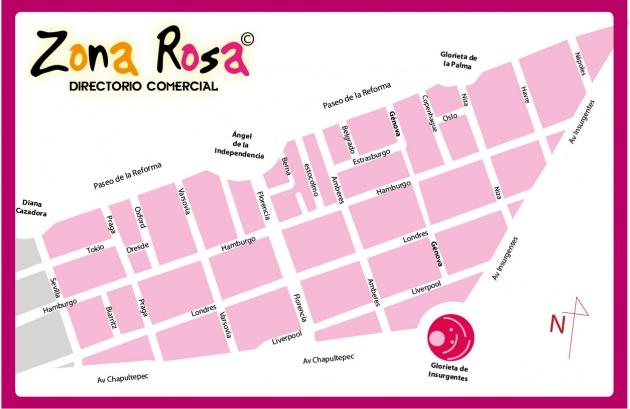 mapa de la Zona Rosa